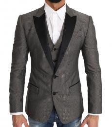Grey 2 Piece Wool Martini Vest Blazer