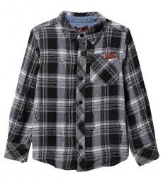 7 For All Mankind Little Boys Black Destructed Plaid Shirt