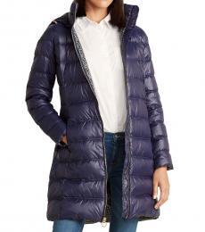 Michael Kors Navy Blue Packable Long Jacket