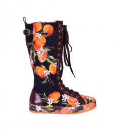 Multicolor Orange Printed Boots