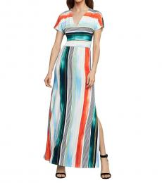 Multi/Brushstroke Striped Maxi Dress