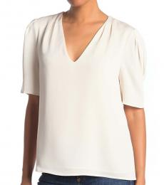 White Deep V-Neck Blouse