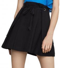 Black Tie-Front Mini Skirt