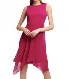 Dark Pink Handkerchief Hem Dress