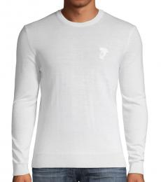 White Logo Pullover Sweater