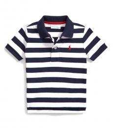 Baby Boys White Striped Polo