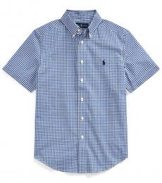 Boys Blue Gingham Poplin Shirt