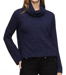 Navy Blue Ribbed Cowl Neck Pullover Sweater