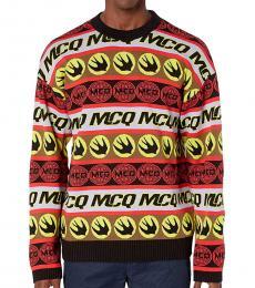 McQ Alexander McQueen Multicolor Tape Crew Neck Sweater