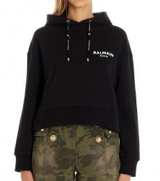 Balmain Black Hooded Logo Sweatshirt