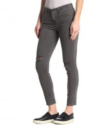 Grey Prima Ripped Ankle Jeans
