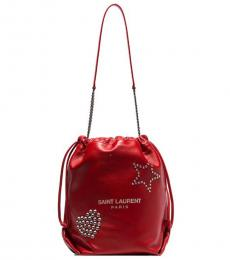 Saint Laurent Red Pochon Large Bucket Bag