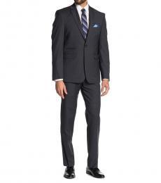 Vince Camuto Dark Grey Solid Notch Lapel Slim Fit Suit