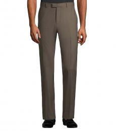 Taupe Wool-Blend Dress Pants