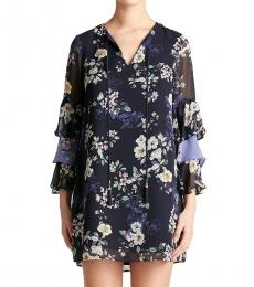 Vince Camuto Navy Blue Floral Tiered Ruffle Sleeve Dress