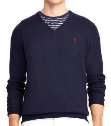 Ralph Lauren Navy Blue Cotton V-Neck Sweater