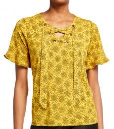 Michael Kors Yellow Grommet Lace-Up Neck Top