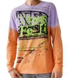 True Religion Orange Long Sleeve Graphic T-Shirt