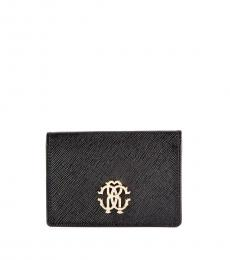 Roberto Cavalli Black Crest Flap Wallet