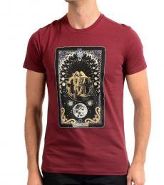 Roberto Cavalli Red Graphic Print T-Shirt