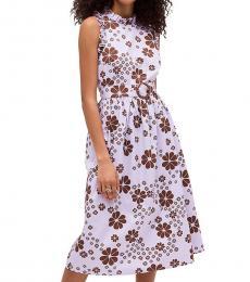 Kate Spade Frozen Lilac Floral Midi Flare Dress