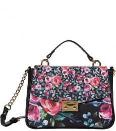 Betsey Johnson Black Sandra Floral Small Satchel