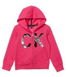 Calvin Klein Girls Pink Sequin Logo Zip Hoodie