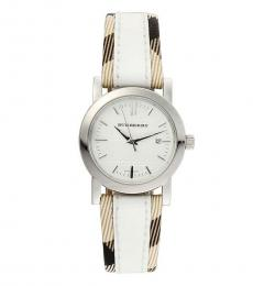 Burberry White-Brown Logo Watch