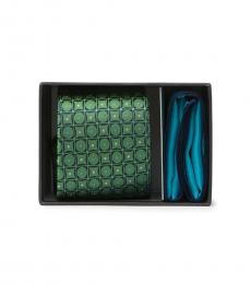 Ted Baker Green Circle & Square Tie & Pocket Square Set