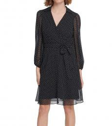 DKNY Navy Blue Balloon-Sleeve Dot-Print Dress