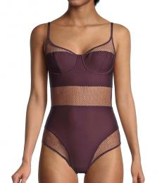 DKNY Black Plum Soft Tech Mesh Bodysuit