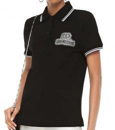 Love Moschino Black Striped Pique Polo Shirt
