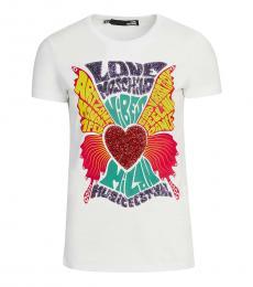 Love Moschino White Graphic Print Logo T-Shirt