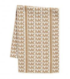 Michael Kors Cream-Camel Linear Logo Scarf