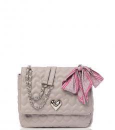 Betsey Johnson Grey Quilted Heart Large Shoulder Bag