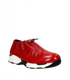 Red Drawstring Closure Sneakers