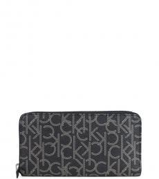 Black Monogram Zip Wallet
