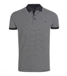 Navy Blue Striped Logo Polo
