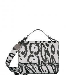 White Fringe Leopard Printed Medium Crossbody