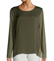 Olive High-Low Cotton Top
