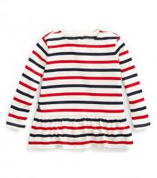 Ralph Lauren Baby Girls Cream Striped Peplum Top