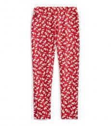 Ralph Lauren Little Girls Red Floral Stretch Jersey Leggings