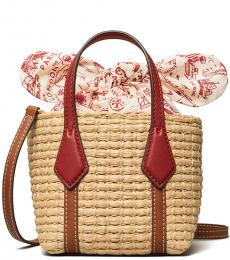 Tory Burch Natural/Red Perry Straw Nano Tote