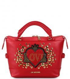 Red Embellished Medium Satchel