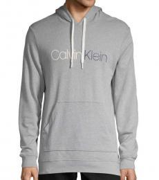 Calvin Klein Wolf Grey Logo Cotton Hoodie
