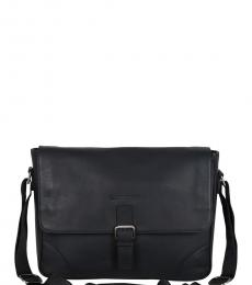 Ben Sherman Black Premium Large Messenger Bag