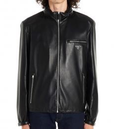 Prada Black Logo Leather Jacket