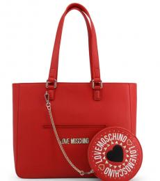 Love Moschino Red Round Pouch Large Tote