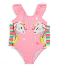 Betsey Johnson Baby Girls Pink Unicorn One-Piece Swimsuit