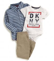 DKNY 3 Piece Shirt/Bodysuit/Joggers Set (Baby Boys)